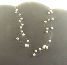 Fresh Water Pearl Multi strand Interval Necklace