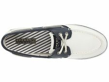 Women Sperry Top-Sider Boat Shoes Bahama 2-Eyes Canvas Sneakers White/Navy Sz 9