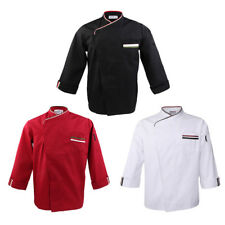 Mens Womens Press Button Long Sleeve Chef Jacket Coat Unisex Catering Clothes