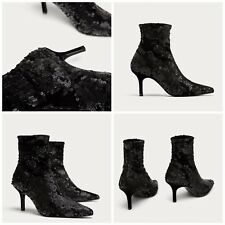 ZARA NEW AW17 SEQUINNED HIGH HEEL ANKLE BOOTS 6085/201