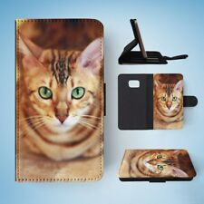 BENGAL CAT 7 FLIP WALLET CASE COVER FOR SAMSUNG GALAXY S7