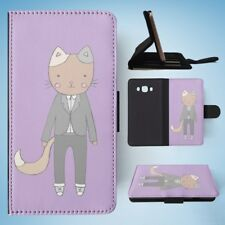 CAT IN A SUIT FLIP WALLET CASE COVER FOR SAMSUNG GALAXY J7(2016)