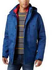 $225 IZOD Modern Fit Blue Solid Zippered Closure New Men's Hooded Jacket TS2179