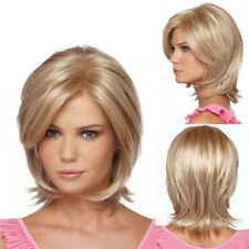 Sexy Short Bob Blonde Wigs for Women Straight Wavy Synthetic Wig with Side Bangs