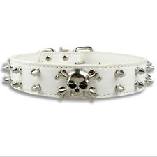 Skull Spiked Studded PU Leather Pet Dog Collar for Medium Large Dogs Pit Bull