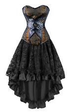 2PC Women Vintage Gothic Victorian Brocade Boned Bustier Corset and Skirt Set