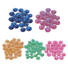50x Round Colorful Resin Cabochon Flatback Buttons Embellishment DIY Crafts 12mm