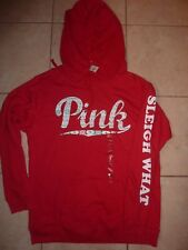 """VICTORIAS SECRET PINK NEW FAIR ISLE CHRISTMAS HOLIDAY """"PINK"""" PULLOVER HOODIE NWT"""