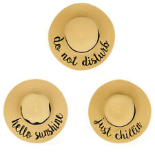 Beach Theme Embroidered Large Brim Ladies Paper Straw Summer Hat - Free Shipping