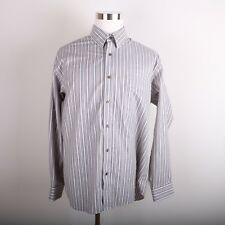 Eddie Bauer Casual Dress Shirt Men's XL Brown Beige Vertical Stripe