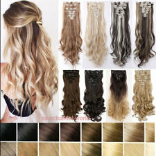 """US 100% Real Natural Full Head Clip in Hair Extensions 18 clips on Long 17""""-26"""""""