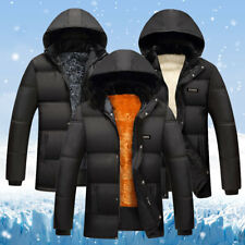 Men Winter Slim Cotton Padded Down Coat Fur Thick Casual Outerwear Parka Jacket