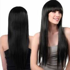 Long Straight Wigs with Full Bangs Natural Dark Brown Synthetic Wigs for Women