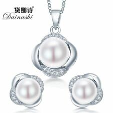 925 sterling silver pearl jewelry set earring/necklace