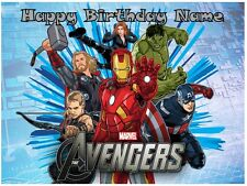 EDIBLE CAKE IMAGE AVENGERS ICING SHEET PHOTO TOPPER OR CUPCAKES BIRTHDAY PARTY