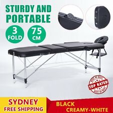Portable 3 Fold Aluminium Massage Therapy Table Beauty Waxing Bed 75cm CXV