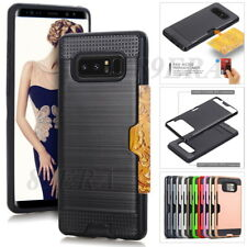 Shockproof Brushed Texture Card Slot Hybrid Case Rugged Shell For Samsung Galaxy