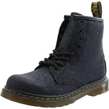 Dr Martens Delaney Y Glitter Blue/Black Leather Youth Ankle Boots