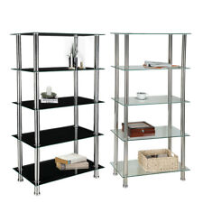 5 Tier Tempered Glass Shelf Unit Display Table Storage with Chrome Legs Shelving