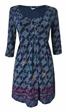 B01 New White Stuff 12 - 18 Navy Ivory Floral Print Empire Line Tunic Dress Top