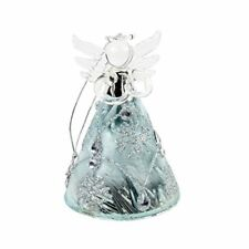 Glass Angel Christmas Decoration with Ice Blue Skirt & Glittered Snowflakes (10c