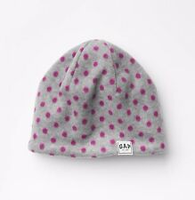 NWT GAP Kids Boys Girl Unisex Soft Fleece Gray Pink Polka Dot Hat Cap Beanie S/M