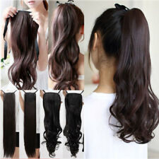US Real Thick Binding Ponytail Hairpiece Clip in Hair Extensions Hair Piece Long
