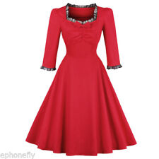 50s 60s ROCKABILLY DRESS Square Collar Swing Pinup Retro Housewife Party Dress