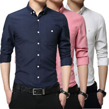 Mens Slim Fit Long Sleeve 100% Cotton Shirts Soild Button Business Dress Shirts