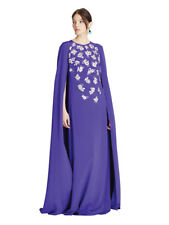 $3890 New Oscar de la Renta Threadwork Embroidery Caftan Gown Violet Purple XS S