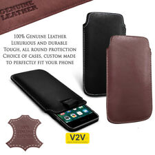 Genuine Leather Pull Tab Pouch Skin Case Cover for HTC Phone Models