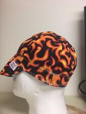NWT USA Made Black Orange Flame Welding Welders Hat Comeaux Caps Reversible Size