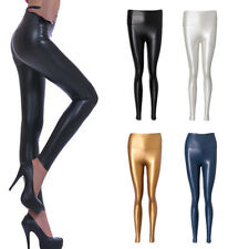 Sexy Womens Shiny Stretch High Waist Skinny Faux Leather Tight Leggings Pants
