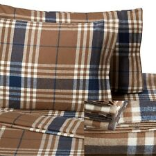 Cotton Flannel Bed Sheet Set Queen Size Soft Warm Plaid Flat Fitted Pillowcases