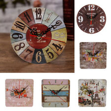 Vintage Wooden Round Wall Clock Antique Home Living Room Office Wall Table Decor