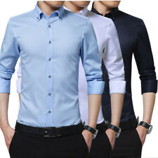 Mens Long Sleeve Slim Fit Cotton Shirt Solid Casual Button Business Dress Shirts