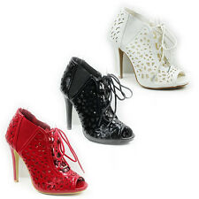 WOMENS LADIES HIGH HEEL LACE UP PEEP TOE ANKLE BOOTS SANDALS SHOES SIZE 3-8