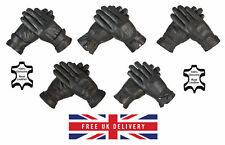 Mens Leather Driving Gloves 100% Genuine Leather Fleece Lined Winter Gloves