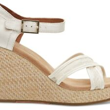 NEW TOMS WOMENS PLATINUM GROSGRAIN LACE WOMEN'S STRAPPY WEDGES