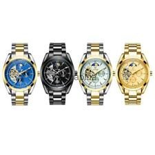 TEVISE Luxury Men's Automatic Mechanical Watch Skeleton Moon Sun Phase Watch