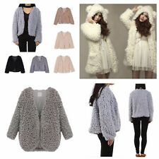 Women's Soft Fluffy Shaggy Faux Fur Coat Cardigan Jacket Outwear