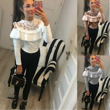 Fashion Women Long Sleeve Slim Lotus Lace O-neck Blouse Casual Loose Top T-shirt