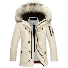 Men Down Jacket Duck White Winter Parka Unique Style Puffer Fur Hooded Thick New
