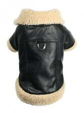 Hip Doggie Classic Shearling Leatherette Faux Leather Dog Coat Jacket