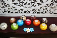 NEW Balinese Capiz Shell T-Light Ball Candle Holder - MANY COLOURS - Bali Candle