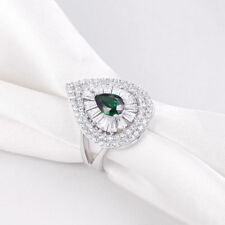 Pear Cut Green Emerald White AAA CZ 925 Sterling Silver Gemstone Ring Size 5-10