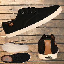 """VANS """"Off The Wall"""" Black Canvas Black Laces Mens Womens Casulal Shoes Sneakers"""