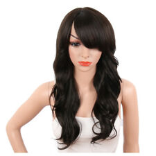 Sexy Long Body Wavy Wigs with Side Bangs Dark Brown Synthetic Wigs for Women