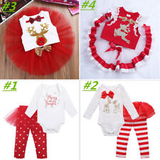 Christmas Infant Baby Girl Reindeer Romper+Pants/Tutu Dress Outfits Xmas Clothes