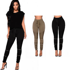 Sexy Women's Zippered Stretchy Leggings Pants Ladies Elastic Trouser Solid Color